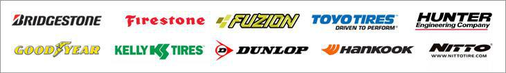 We proudly offer products from: Bridgestone, Firestone, Toyo, Hunter, Goodyear, Kelly, Dunlop, Fuzion, Hankook, and Nitto.