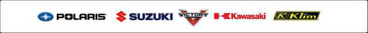 We proudly carry products from Polaris, Suzuki, Victory, Kawasaki, and Klim.