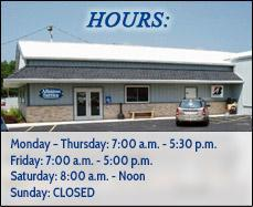 Allenton Service Hours: Monday through Thursday - 7:00 a.m. to 5:30 p.m. Friday - 7:00 a.m. to 5:00 p.m. Saturday - 8:00 a.m. to noon. We are closed on Sundays.