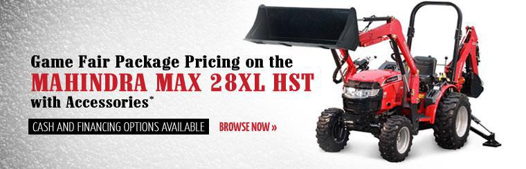 Get Game Fair Package pricing on the Mahindra Max 28XL HST with accessories! Cash and financing options are available. Click here to browse now.