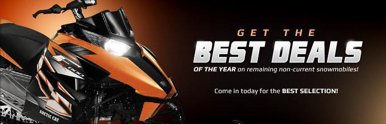 Get the best deals of the year on remaining non-current snowmobiles! Come in today for the best selection!