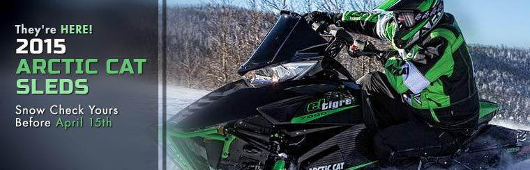The 2015 Arctic Cat sleds are here! Snow Check yours before April 15th.