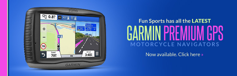 Fun Sports has all the latest Garmin Premium GPS motorcycle navigators! Click here to shop online.