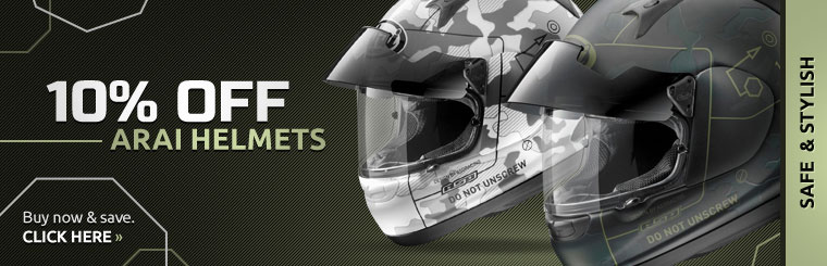 Save 10% on Arai helmets! Click here to view our selection.