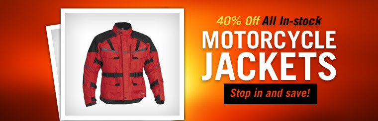 Get 40% off all in-stock motorcycle jackets! Click here to shop our selection.
