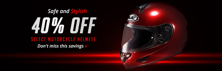 Get 40% off motorcycle helmets! Click here to shop online.