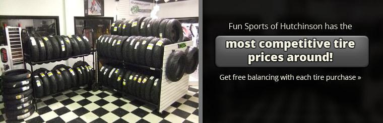 Fun Sports of Hutchinson has the most competitive tire prices around! Get free balancing with each tire purchase!