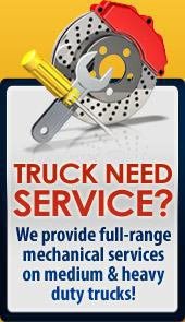 Truck need service? We provide full-range mechanical services on medium & heavy duty trucks!
