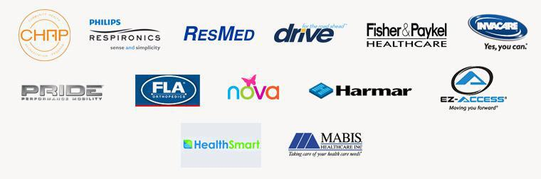 We are affiliated with the Community Health Accreditation Program. We carry products from Philips Respironics, ResMed, Drive, Fisher & Paykel, Invacare, Pride, FLA Orthopedics, Nova, Harmar, EZ-Access, HealthSmart, and Mabis