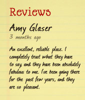 Reviews: Amy Glaser. 3 months ago. An excellent, reliable place. I completely trust what they have to say, and they have been absolutely fabulous to me. I've been going there for the past few years, and they are so pleasant.