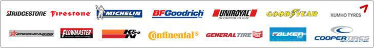 We carry Bridgestone, Firestone, Michelin®, BFGoodrich®, Uniroyal®, Goodyear, Kumho, American Racing, Flowmaster, K & N, Continental, General Tire, Falken, and Cooper Tires products.