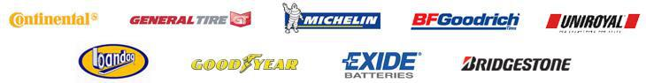 We proudly feature products from Continental, General, Michelin, BFGoodrich, Uniroyal, Bandag, Goodyear, Exide Batteries, and Bridgestone.