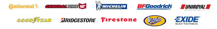 We carry products from Continental, General Tire, Michelin®, BFGoodrich®, Uniroyal®, Goodyear, Bridgestone, Firestone, Bandag, and Exide.