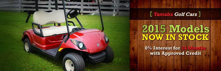 The 2015 Yamaha golf cars are now in stock! Get 0% interest for 24 months with approved credit! Contact us for details.