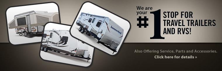 We are your #1 stop for travel trailers and RVs and also offer service, parts and accessories! Click here for details.