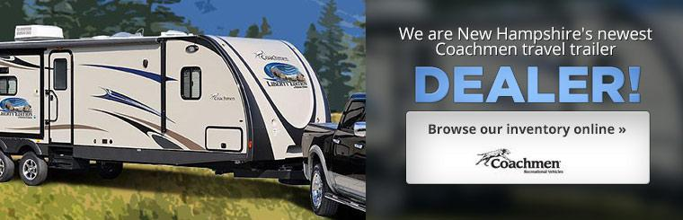 We are New Hampshire's newest Coachmen travel trailer dealer! Click here to browse our inventory.