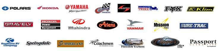 We are proud to carry products from Polaris, Honda, Yamaha, Champion Trikes, Hannigan Trikes, Fox, Klim, Gravely, Honda Power Equipment, Mahindra, Ariens, Yanmar, Mission Trailers, Sure-Trac trailers, Keystone RV, Springdale, Summerland, Coachman, Freedom Express, Clipper, and Passport.