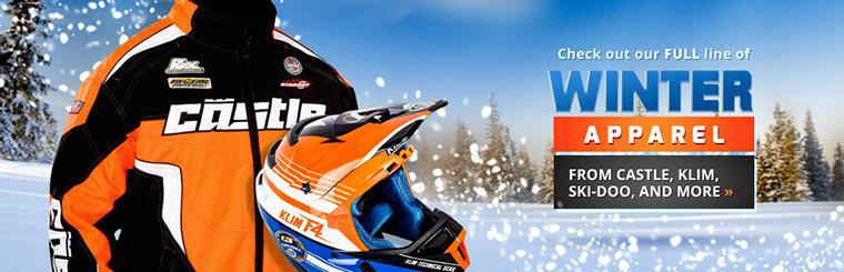 Check out our full line of winter apparel from Castle, Klim, Ski-Doo, and more!