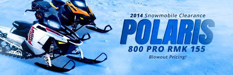 2014 Snowmobile Clearance: Take advantage of blowout pricing on the 2014 Polaris 800 Pro RMK 155!