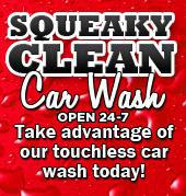Squeaky Clean Car Wash. Open 24-7. Take advantage of our touchless car wash today!