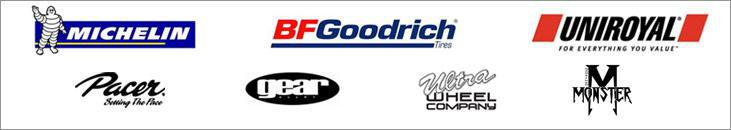 We proudly carry products by Michelin®, BFGoodrich®, Uniroyal®, Pacer, Gear Alloy, Ultra Wheel, and Monster.