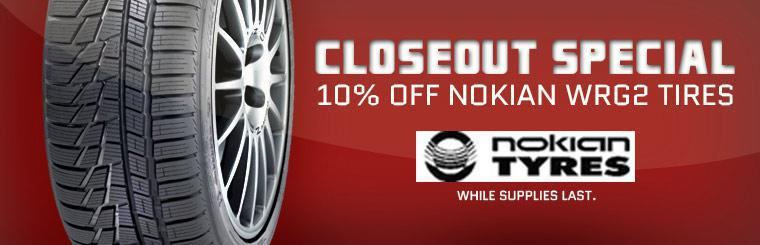 Closeout Special: Get 10% off Nokian WRG2 tires while supplies last! Click here to shop online.
