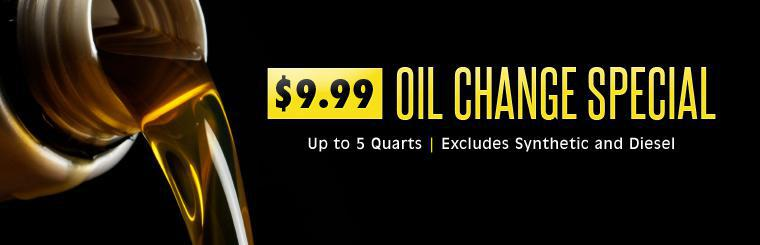 $9.99 Oil Change Special: Click here to print the coupon.
