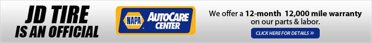 JD Tire is an official NAPA AutoCare Center.