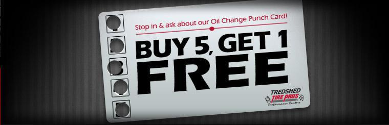 Oil Change Punch Card: Buy 5 oil changes, get 1 free! Click here to request service.