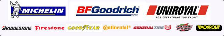 We offer products from Michelin®, BFGoodrich®, Uniroyal®, Bridgestone, Firestone, Goodyear, Continental, General, Interstate Batteries, and Monroe.