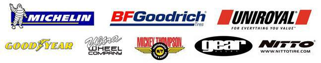 We proudly offer products from: Michelin®, BFGoodrich®, Uniroyal®, Goodyear, Ultra, Mickey Thompson, Gear Alloy, and Nitto.
