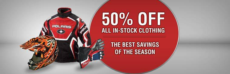 Get 50% off all in-stock clothing! Click here to shop online.