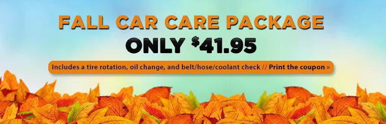 $41.95 Fall Car Care Package: This offer includes a tire rotation, oil change, and belt, hose, and coolant check. Click here to print the coupon.