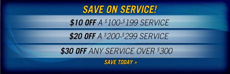 Save up to $30 on service! Click here for coupon and details.