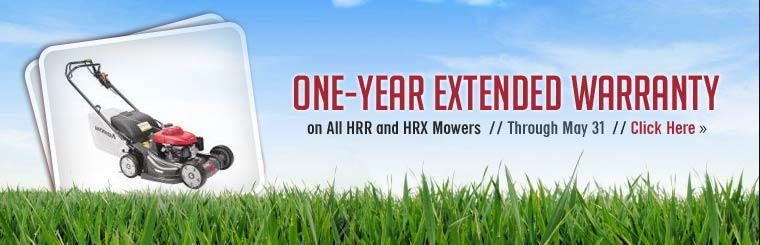Get a one-year extended warranty on all Honda HRR and HRX mowers through May 31st!