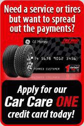 Need a service or tires but want to spread out the payments?  Apply for our Car Care One credit card today!