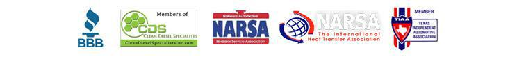 BBB, CDS: Clean Diesel Specialist, NARSA, and TIAA: Texas Independent Automotive Association.