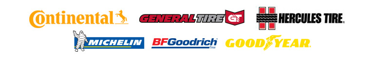 We carry products from Continental, General, Hercules, Michelin®, BFGoodrich®, and Goodyear.