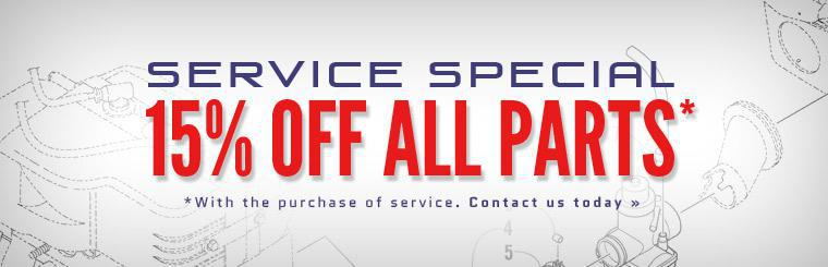 Service Special: Get 15% off all parts with the purchase of service!