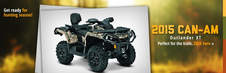 Get ready for hunting season with the 2015 Can-Am Outlander XT! Click here for details.
