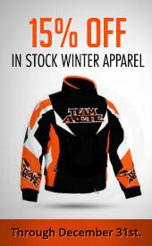 15% OFF IN STOCK WINTER APPAREL. Through December 31st