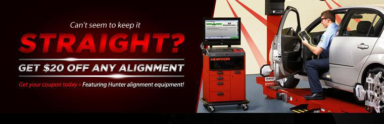 Get $20 off any alignment with this coupon.