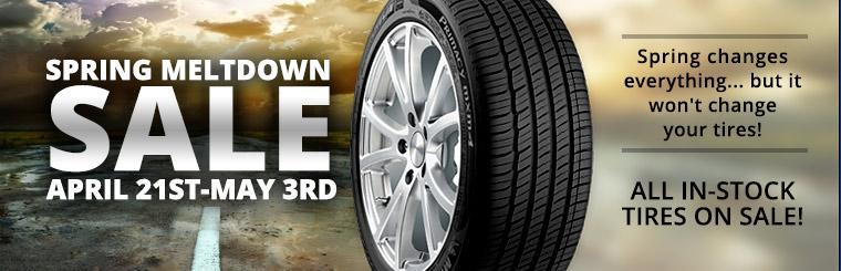 Spring Meltdown Sale: April 21st - May 3rd. All in-stock tires are on sale. Click here to shop.