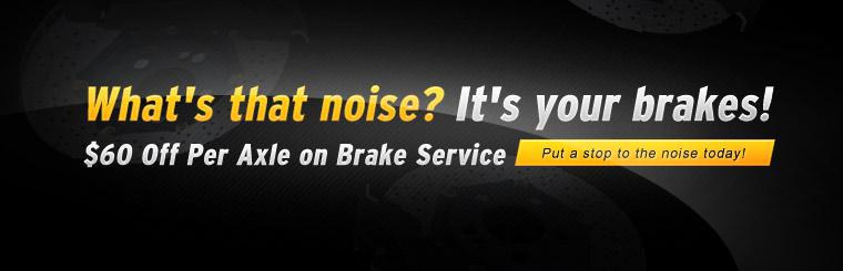 Get $60 off per axle on brake service with this coupon.