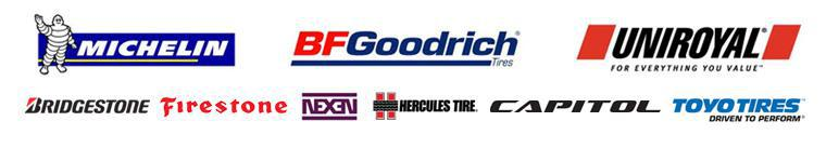 We carry products from Michelin®, BFGoodrich®, Unrioyal®, Bridgestone, Firestone, Nexen, Hercules, Capitol, and Toyo.