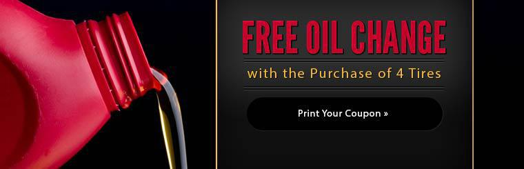 Free Oil Change with the Purchase of 4 Tires: Click here to print the coupon.