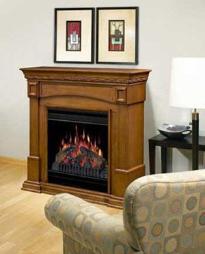 CFP3920A Traditional Compact Fireplace—shown with amaretto finish mantel