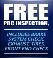 Free PRC inspection, includes brake system check, exhaust, tires, front end check.