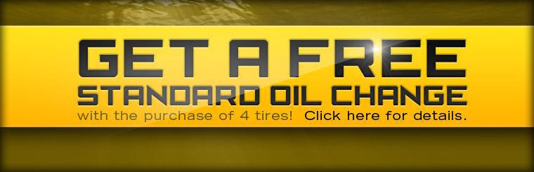 Get a free standard oil change with the purchase of 4 tires! Click here for details.