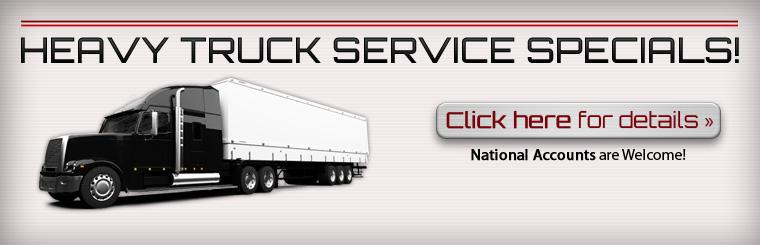 Click here for details about our heavy truck service specials!